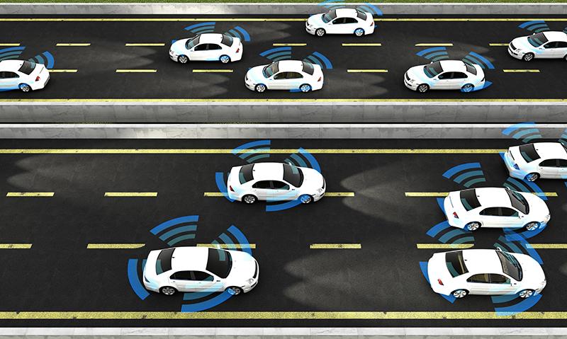 Viele Autos auf einer Straße, die Signal aussenden.