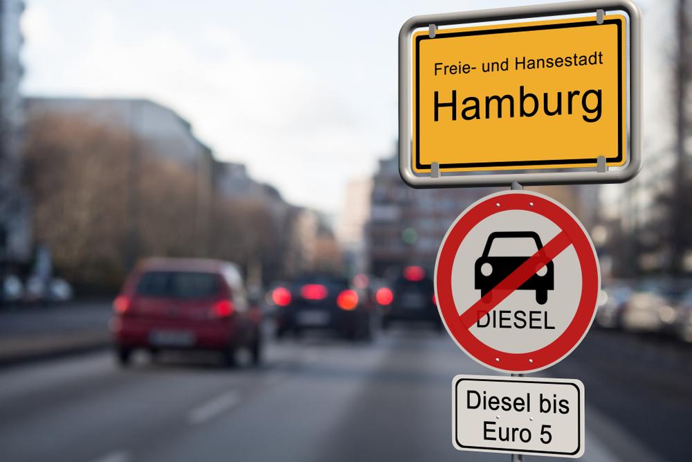 Dieselverbotsschild in Hamburg