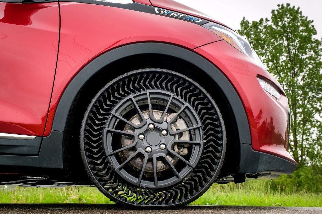 Ein Reifen – luftlos, recycelbar und im 3-D Drucker hergestellt (Quelle: Michelin)