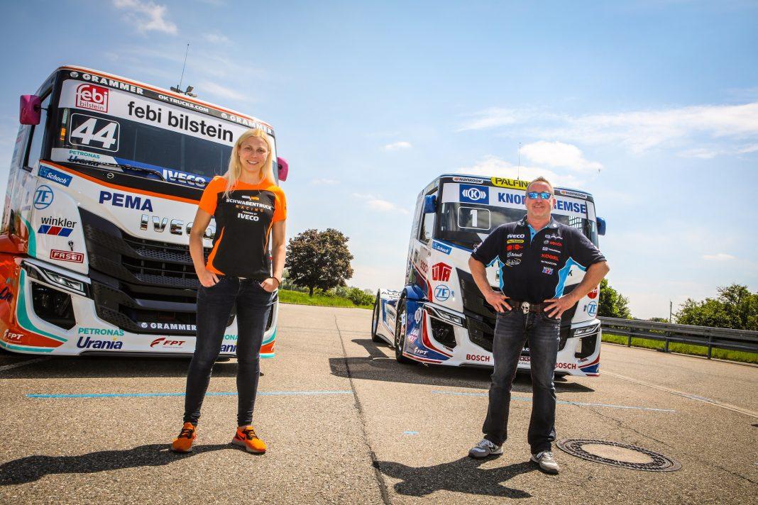 Steffi Halm und Jochen Hahn vor ihren neuen Trucks.