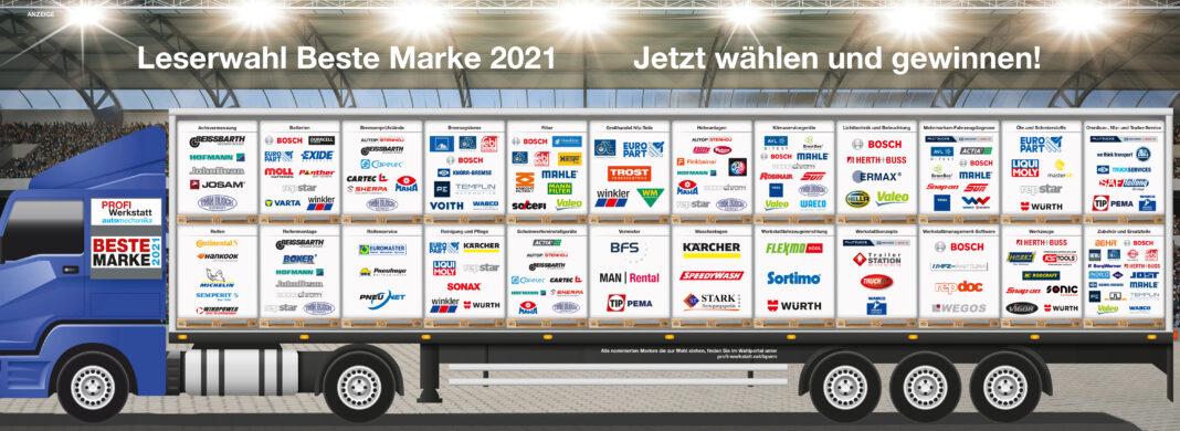"""Seit 2014 befragt das Fachmagazin """"PROFI Werkstatt"""" seine Leser regelmäßig nach den beliebtesten Marken aus dem Bereich Nutzfahrzeug-Werkstätten."""