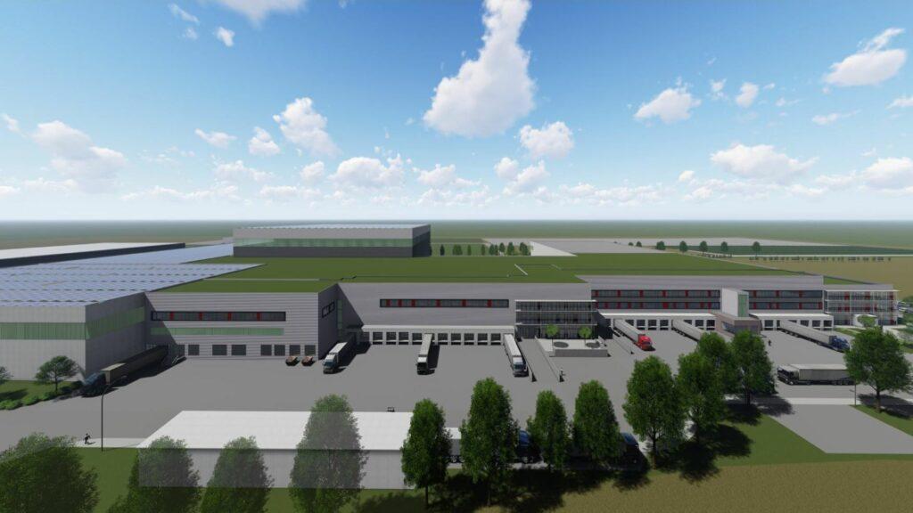 Der Entwurf zeigt die spätere Fläche für die Solaranlage auf dem Dach des Logistikzentrums.